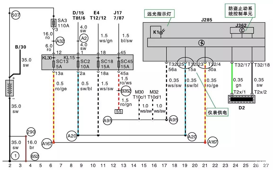 组合仪表系统电路图的识读方法