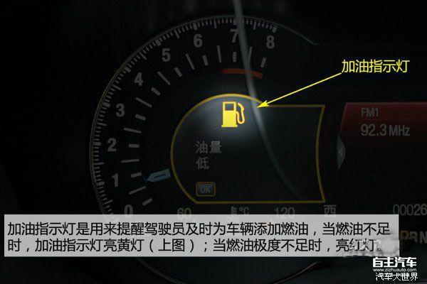 手刹指示灯 驻车指示灯  驻车制动手柄(即手刹)拉起时,此灯点亮。 手刹被放下时,该指示灯自动熄灭。在有的车型上,刹车液不足时此灯会亮。、 电瓶指示灯  电瓶指示灯显示蓄电池工作状态的指示灯。接通电门后亮起,发动机启动后熄灭。如果不亮或长亮不灭应立即检查发电机及电路。 刹车盘指示灯  显示刹车盘片磨损情况的指示灯。正常情况下此灯熄灭,点亮时提示车主应及时更换故障或磨损过渡刹车片,修复后熄灭。 机油指示灯  机油指示灯显示发动机机油压力的指示灯,本灯亮起时表示润滑系统失去压力,可能有渗漏,此时需立即停车关闭